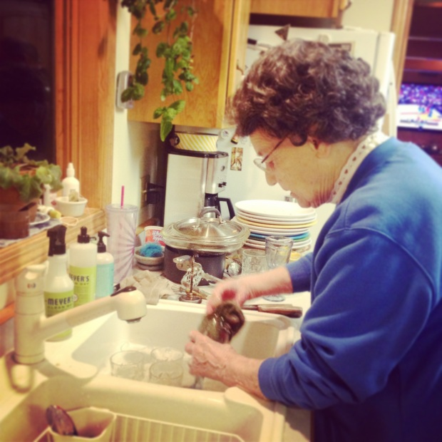 grandma always insists on washing dishes.